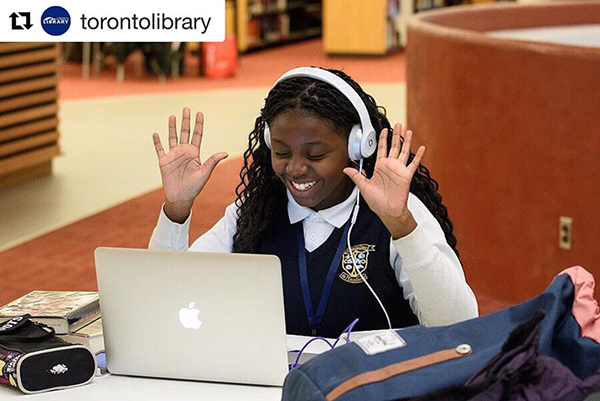 Back to school captured in one joyous face at the Toronto Public Library!