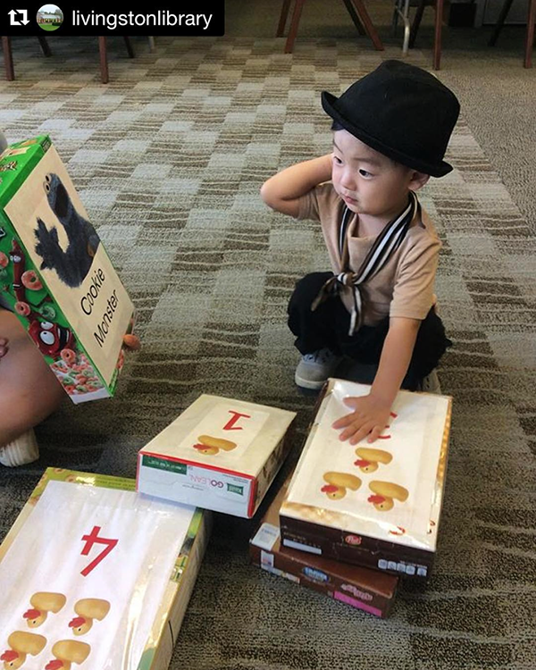 C is for Cookie! (And cutie pie) Recycled cereal boxes as oversized flash cards at @livingstonlibrary!