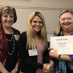 Super Library Supervisor (SLS) Graduation, October 3, 2019 --- (From the left) Jayne Beline, Connie Bermudez (SLS), and Kathy Schalk-Greene