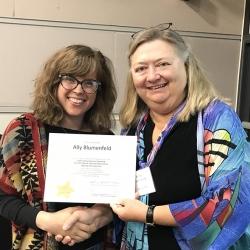 Super Library Supervisor (SLS) Graduation, October 3, 2019 --- (From the left) Ally Blumenfeld (SLS) and Kathy Schalk-Greene