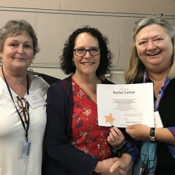 Super Library Supervisor (SLS) Graduation, October 3, 2019 --- (From the left) Cathi Sheridan, Rachel Cantor (SLS), and Kathy Schalk-Greene