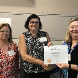 Super Library Supervisor (SLS) Graduation, October 3, 2019 --- (From the left) Christine Hill, Sandi Cronce (SLS), and Kathy Schalk-Greene