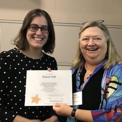 Super Library Supervisor (SLS) Graduation, October 3, 2019 --- (From the left) Elysse Fink (SLS) and Kathy Schalk-Greene