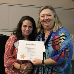 Super Library Supervisor (SLS) Graduation, October 3, 2019 --- (From the left) Jessica Gentile (SLS) and Kathy Schalk-Greene