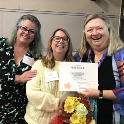 Super Library Supervisor (SLS) Graduation, October 3, 2019 --- (From the left) Monica Smith, Gina Gerard (SLS), and Kathy Schalk-Greene