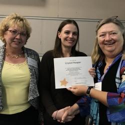 Super Library Supervisor (SLS) Graduation, October 3, 2019 --- (From the left) Rebecca Crawford, Crystal Hooper (SLS), and Kathy Schalk-Greene