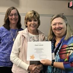 Super Library Supervisor (SLS) Graduation, October 3, 2019 --- (From the left) Ellen Callanan, Dawn Larsen (SLS), and Kathy Schalk-Greene