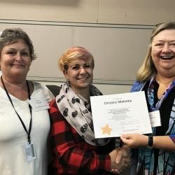 Super Library Supervisor (SLS) Graduation, October 3, 2019 --- (From the left) Cathi Sheridan, Christine Maloney (SLS), and Kathy Schalk-Greene