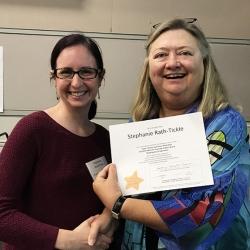Super Library Supervisor (SLS) Graduation, October 3, 2019 --- (From the left) Stephanie Rath-Tickle (SLS) and Kathy Schalk-Greene