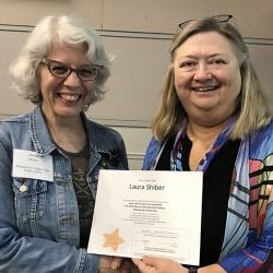 Super Library Supervisor (SLS) Graduation, October 3, 2019 --- (From the left) Laura Shiber (SLS) and Kathy Schalk-Greene