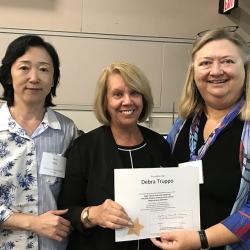 Super Library Supervisor (SLS) Graduation, October 3, 2019 --- (From the left) Jane Jiang, Debra Truppo (SLS), and Kathy Schalk-Greene