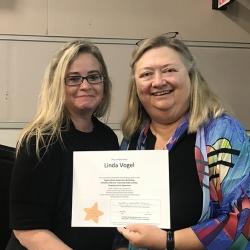 Super Library Supervisor (SLS) Graduation, October 3, 2019 --- (From the left) Linda Vogel (SLS) and Kathy Schalk-Greene