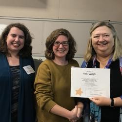 Super Library Supervisor (SLS) Graduation, October 3, 2019 --- (From the left) Natalie Niziolek, Vicki Wright (SLS), and Kathy Schalk-Greene