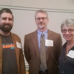 <i>(From the left)</i>Allen McGinley (Piscataway Public Library), Ralph Bingham (Gloucester County Library) and Irene Langlois (Maplewood Memorial Library)